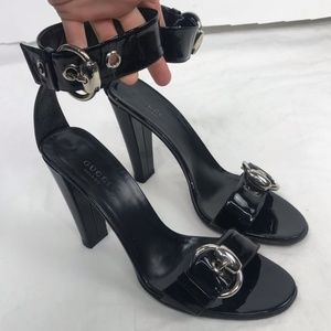 Auth. Gucci Black Patent Buckle Strap Heels Size 8